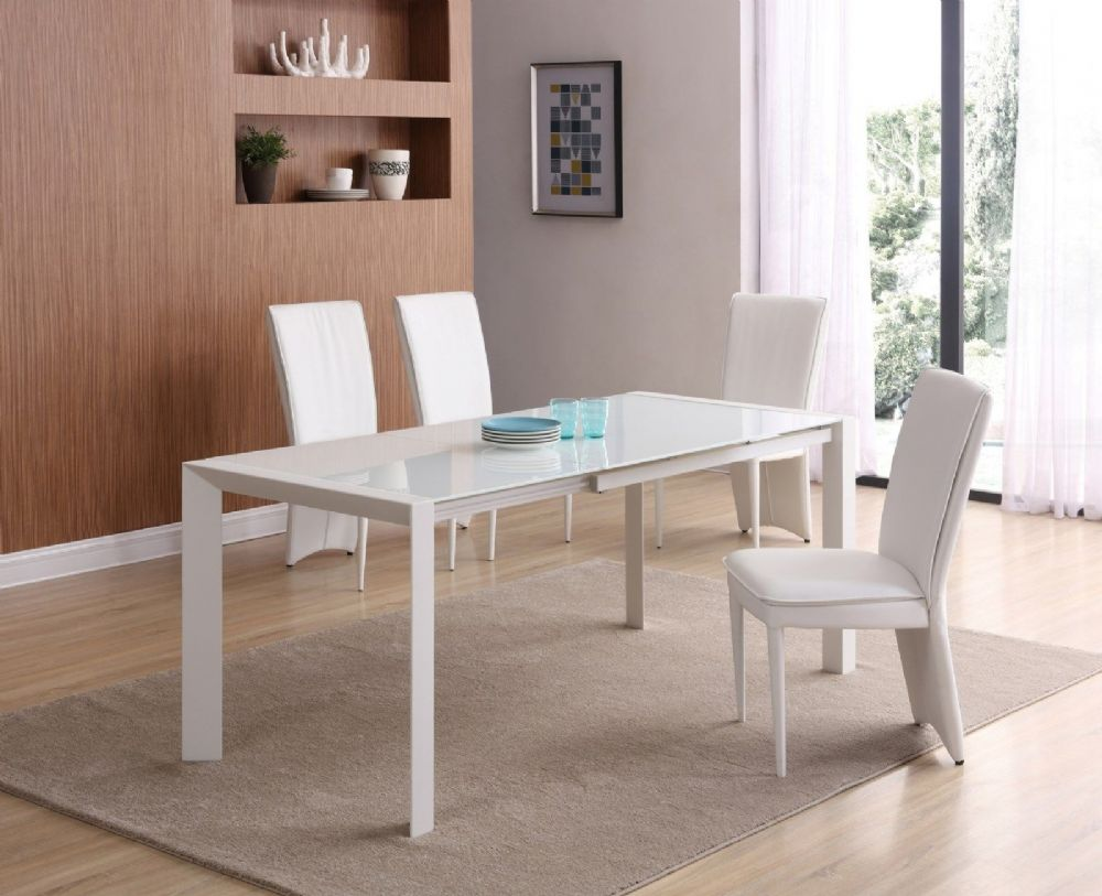 GA SICILY White Glass EXTENDING 120 / 180 cm Table & Chairs - 4 Colours